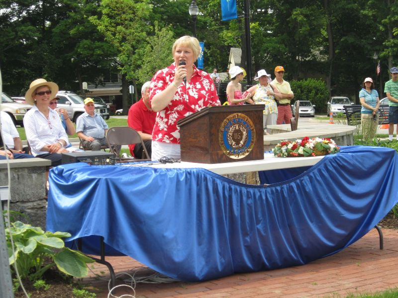 1st Selectwoman Cathrine Gaudinski speaks at 2012 Memorial Ceremony